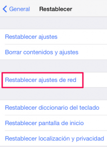 Recuperar ajustes de red iphone